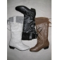 leather material black color women's outdoor tall boots