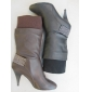 Wholesale stock winter lady dress knee high boots two color PU material high quality popular in 2009 winter