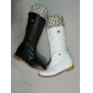 white and black women' waterproof  boots good materails with feather and link low price