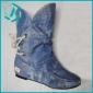 stock leisure lady boots fashion boots Blue and shallow blue color