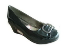 (GDS)women pu rubber black exquisite durable wedge heeled shoes