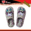 2011 Lady's fabric indoor slippers, Beautiful bowknot on the fashion winter slippers